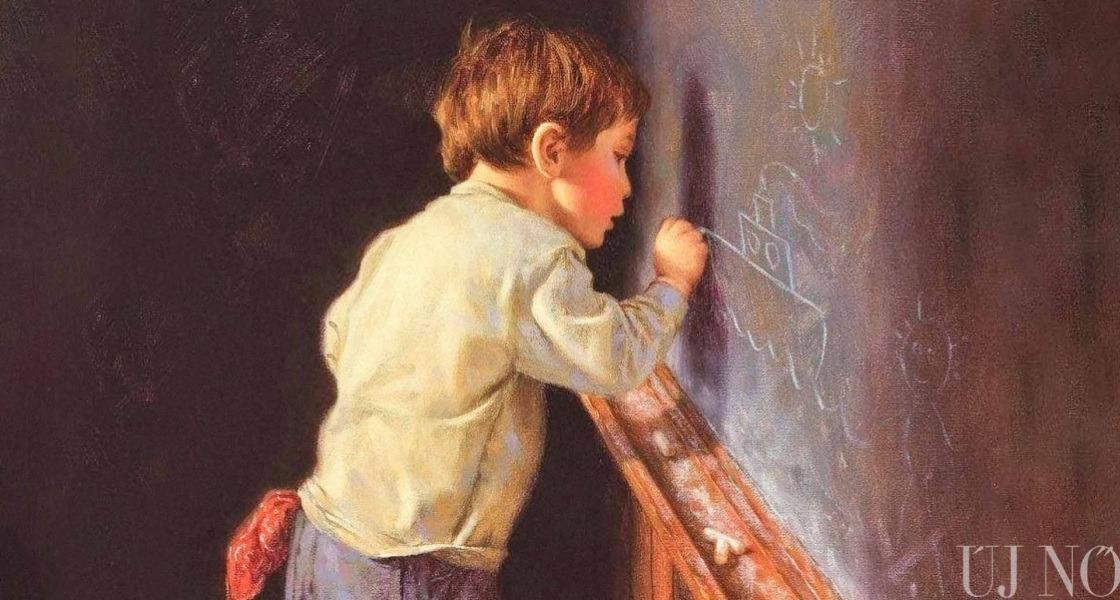 Elsős gyerek ír, olvas