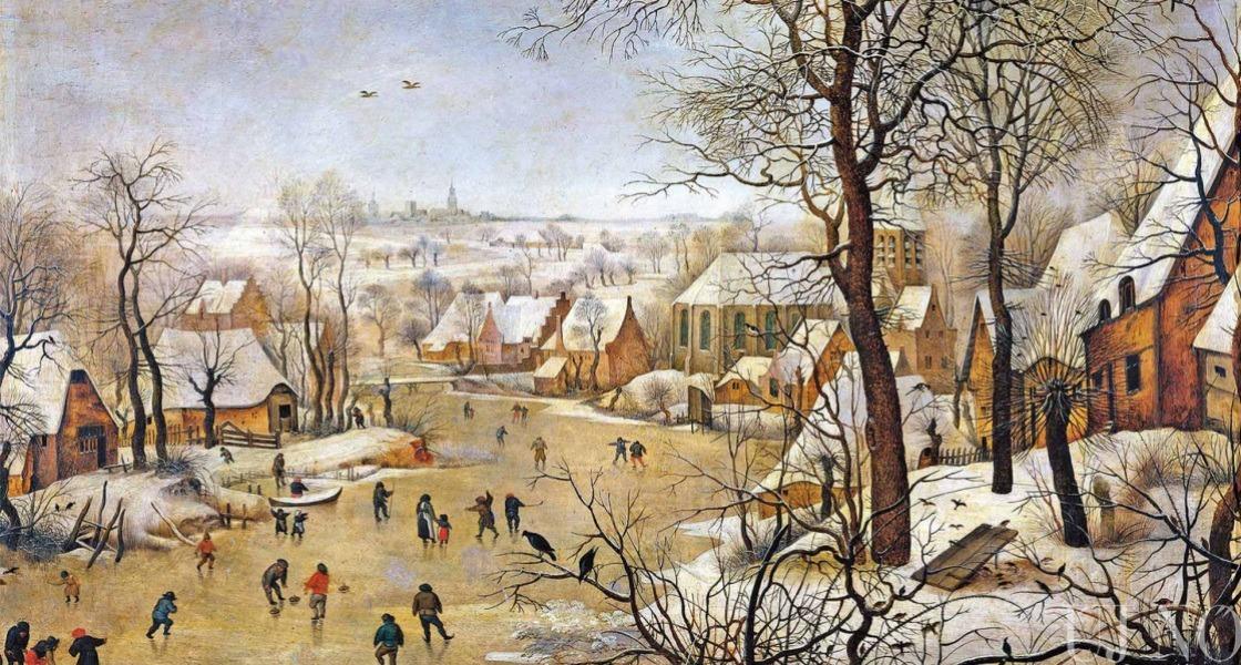 Téli táj korcsolyázókkal és madárcsapdával